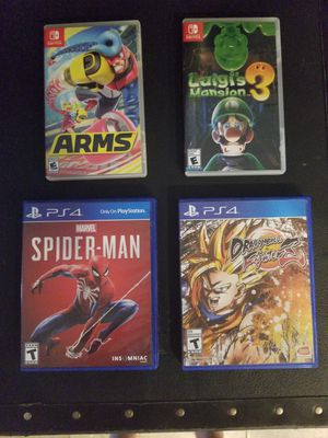Luigi's mansion 3, arms SWITCH. spiderman, dragonball z fighter ps4. for Sale in Maricopa, AZ