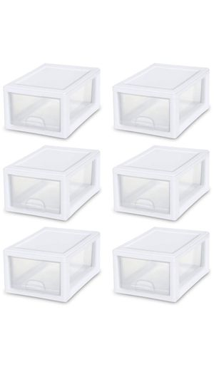 NEW in Box — Set of 6 STERLITE Stacking Storage Drawer Closet Containers for Home Organization — PRICE FIRM ✅ 🚗 SAME DAY PICK UP REQUIRED‼️ for Sale in Dallas, TX