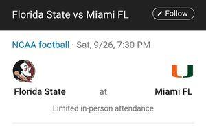 Hurricanes vs FSU Football for Sale in Miramar, FL