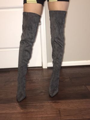 Woman's Grey Thigh high heels for Sale in Fort Washington, MD