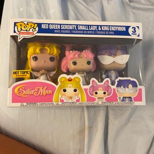 Sailor Moon Neo Queen Serenity, Small Lady, King Endymion Funko for Sale in Los Angeles, CA