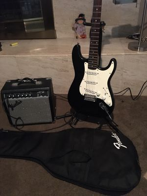 Fender Stratocaster Squier W Fender Amp and Case for Sale in San Diego, CA