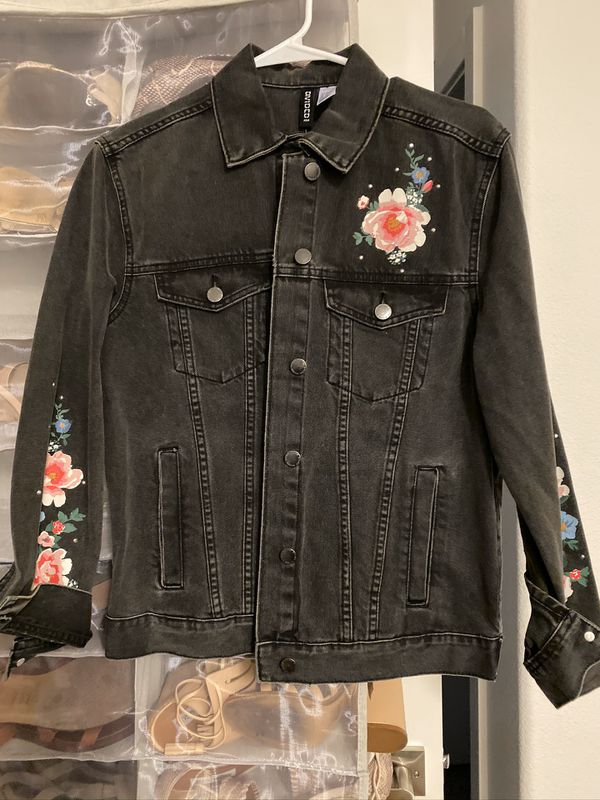 H&M black floral jean jacket