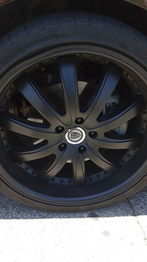 Tryna get rid of these rims asap all 4 size 20 with wheels they'are black dipped got some damage asking for 250$ for Sale in Los Angeles, CA