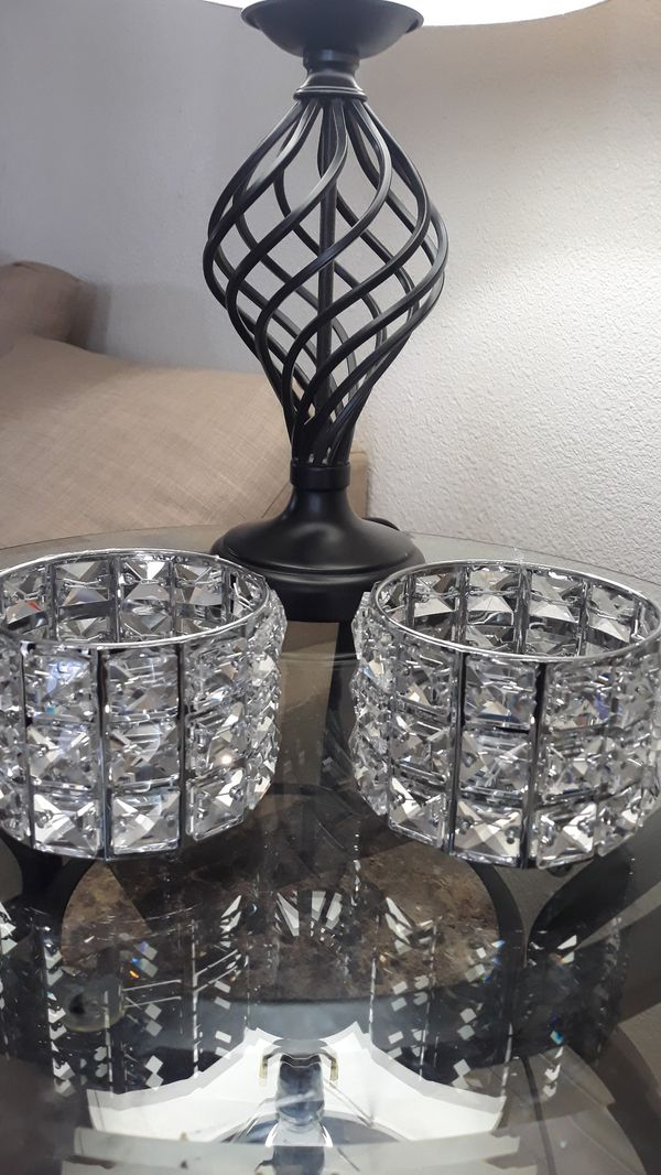 2- Crystal Candle Holders/ brush holder