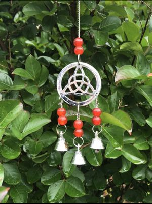 Red Beaded Small Triquetra Celtic Mystic Knot Wind Chime Sun Catcher Mobile for Sale in Nashville, TN