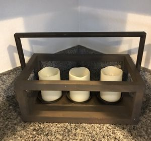 Farmhouse style wooden box with candles for Sale in Orlando, FL