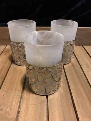 Set of three white and silver Candle holders for Sale in Hayward, CA