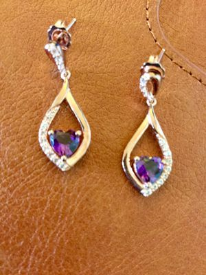 Amethyst gemstone Rose Gold earrings with delicate crystals / New jewelry beautiful 💜 🎉 for Sale in Alexandria, VA