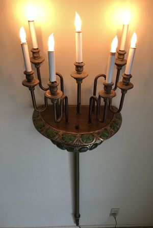 "Antique Wall-Hanging 'Candelabra' Lamp - Wood Base - 67"" Tall - All Lights Work! for Sale in Tustin, CA"