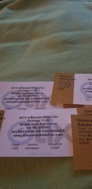 Arkansas state fair tickets for Sale in Little Rock, AR