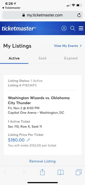 Thunder vs Wizards ticket November 2 for Sale in Hagerstown, MD