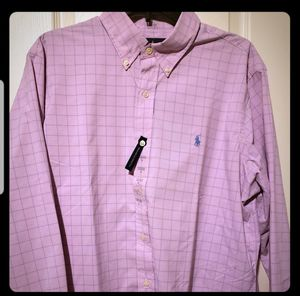 Size Large Ralph Lauren Polo Dress Shirt. Pink with Blue stripes. for Sale in Cleveland, OH
