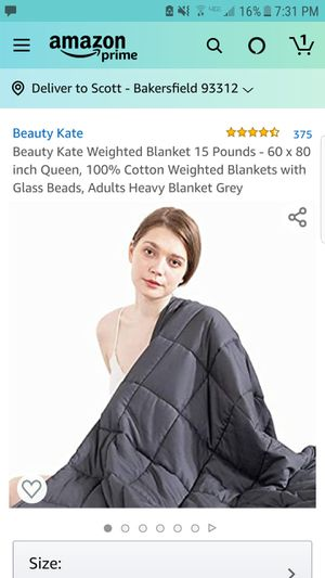 Beauty Kate Weighted Blanket 15 Pounds - 60 x 80 inch Queen, 100% Cotton Weighted Blankets with Glass Beads, Adults Heavy Blanket Grey for Sale in Bakersfield, CA