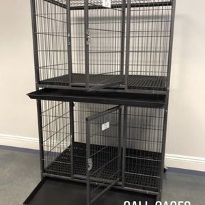 "Dog Pet Cage Kennel Size 37"" Medium Stackable With Plastic Floor Grid Tray And Wheels New In Box 📦 for Sale in Chino, CA"
