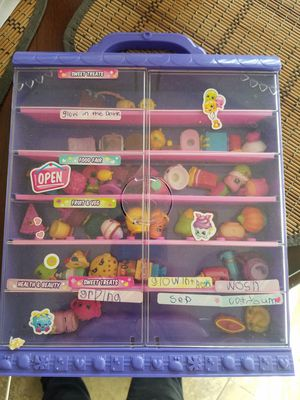 Shopkins case with shopkin pieces for Sale in Oceanside, CA