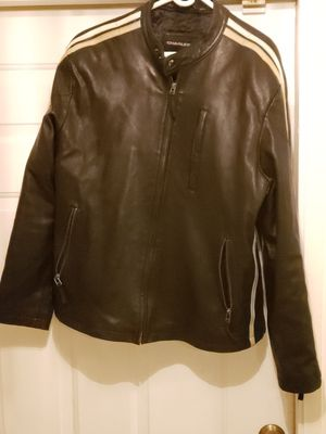 MEN'S SIZE LARGE Charles Klein black leather racing motorcycle jacket with racing stripes for Sale in Pompano Beach, FL