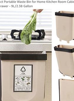 SELLERWE Hanging Trash Can,Silicone Folding Waste Bins Kitchen Foldable Trash Can Collapsible Amal Garbage Can Compact Portable Waste Bin for Home Kit for Sale in Las Vegas,  NV