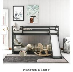 Gray Twin Bunk Bed Over Low with Slide and Ladder for Sale in El Monte,  CA