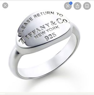 Please Return To Tiffany Oval Sterling Silver Ring size 5 for Sale in Whittier, CA
