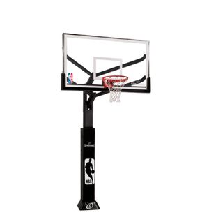 Spalding arena view in ground basketball hoop with 72 inch glass backboard for Sale in Austin, TX