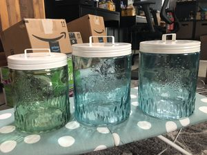 Lot of 3 Blue Green Glass Storage Organizer Container Jars NEW for Sale in Irvine, CA