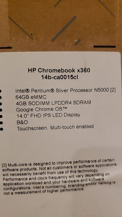 2019.Hp Chromebook x 360.15 Touchscreen 2 in chihromebook 4 GB RAM 64 GB Flash Memory Ceramic White Mineral Silver Chrome OS Intel UHD for Sale in Los Angeles,  CA
