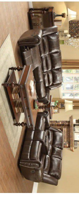 🛑📎Center Hill Brown Bonded Leather Reclining Living Room Set 🛑📎 for Sale in Houston, TX