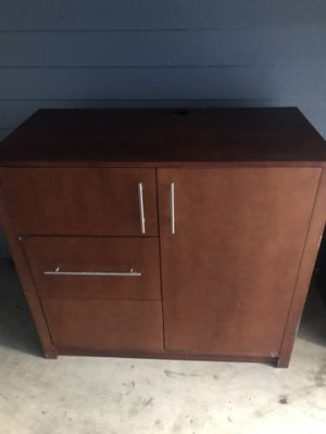 """beautiful wooden dresser, not particular board, 45""""w x 41""""h, has built in 2 plug surge protector for Sale in Atlanta, GA"""