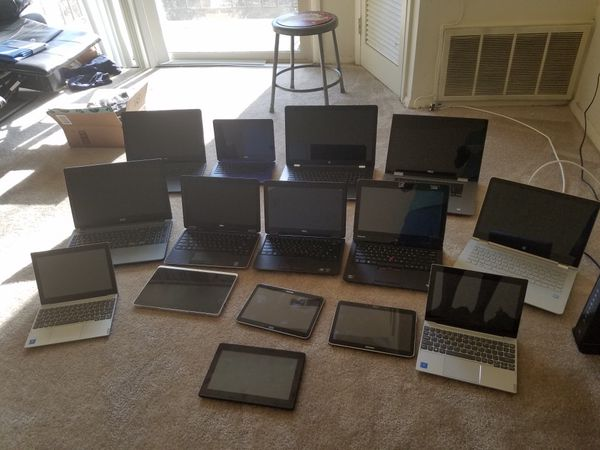Lot of hp, dell,lenovo acer laptops and samsung tabs.