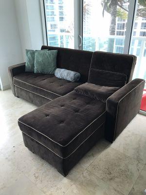 Chocolate brown microfiber storage couch/futon for Sale in Miami, FL
