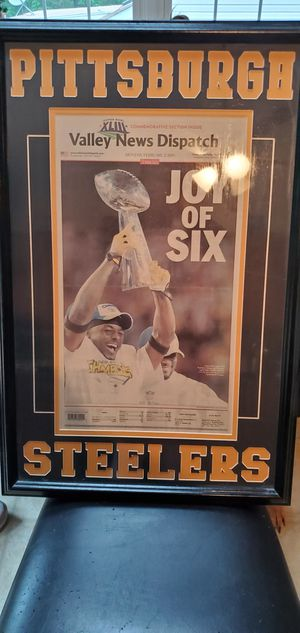 Framed paper Pittsburgh Steelers super bowl for Sale in Lynchburg, VA