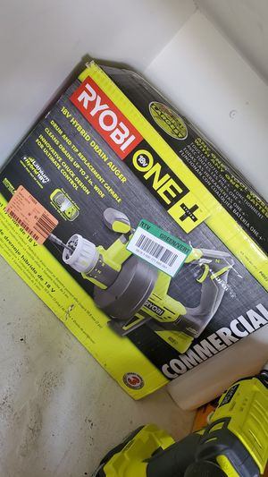 RYOBI ONE+ 18V Hybrid Drain Auger (Tool Only) with Auger Grease Cutter and Bulb Tip Kit for Sale in Victorville, CA