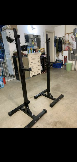 Bench with squat rack, Weights, Curl bar for Sale in San Diego, CA