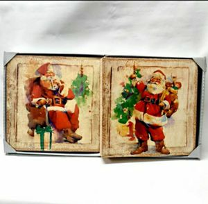 Set of 2 Santa Claus Wall Painting Decor 12x12in for Sale in Hazard, CA