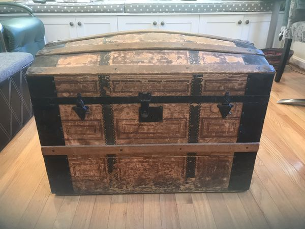 Old family trunk, wood and metal, Vienna, VA