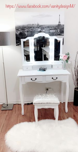 New french white vanity set with 3 folding hollywood light mirror and stool all in box for Sale in Des Plaines, IL