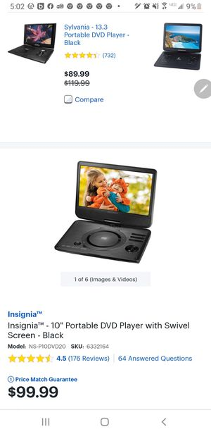 "Insignia 10""portable DVD player with swivel screen for Sale in Fresno, CA"