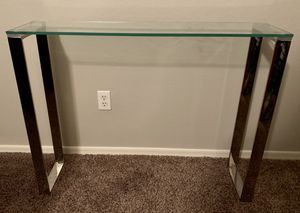 Glass and Chrome slim console table matches pottery barn Ava etc for Sale in Phoenix, AZ