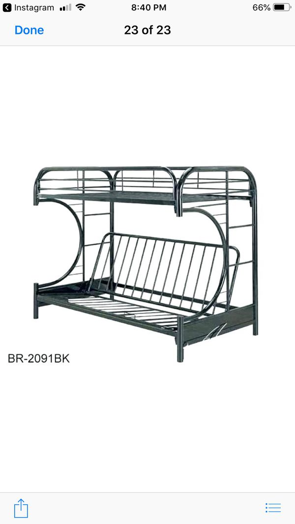 Metal loft bed with futon sofa