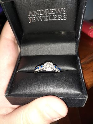 Size 10 real diamond & sapphire engagement ring for Sale in Marion, OH