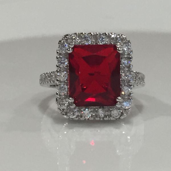 Sterling silver plated ruby ring women's jewelry