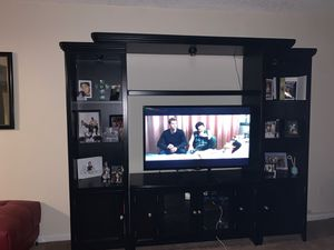 Dark wood Tv Entertainment Stand for Sale in Tampa, FL