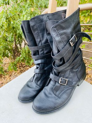 Women's Black Riding Boots Size 8.5 Madden Girl RASZCAL Belted Mid-Calf Boots for Sale in Las Vegas, NV