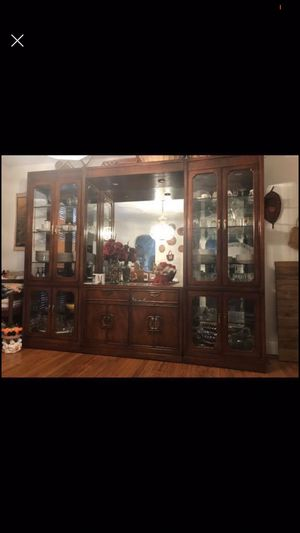 China Press Cabinet with Wood and Glass Table and 6 Chairs for Sale in Fort Washington, MD