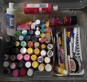 MOVING SALE* Acrylic Paints, x2 Mod Podge, Brushes, Paint Pens & More w/storage container for Sale in Palmdale, CA