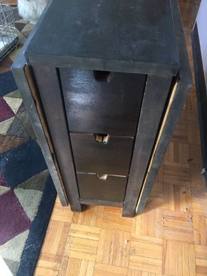 Beautiful real wood antique table with 3 deep draws on each side folds up to be use as a side table also for Sale in Boston, MA