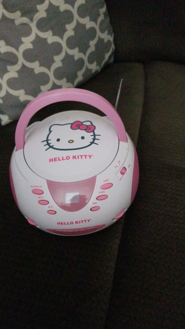 hello kitty CD player am/FM I mainly use it in the kitchen its sounds really good playing music I connect my phone to it