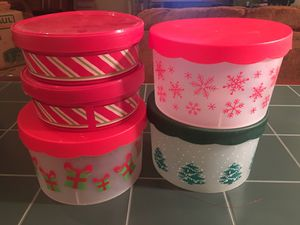 Assorted plastic Christmas storage cookies containers for Sale in Austin, TX