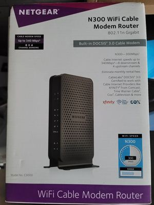 NETGEAR C3000-100NAS N300 (8x4) WiFi DOCSIS 3.0 Cable Modem Router (C3000) Certified for Xfinity from Comcast, Spectrum, Cox, Cablevision & More for Sale in Rancho Cucamonga, CA